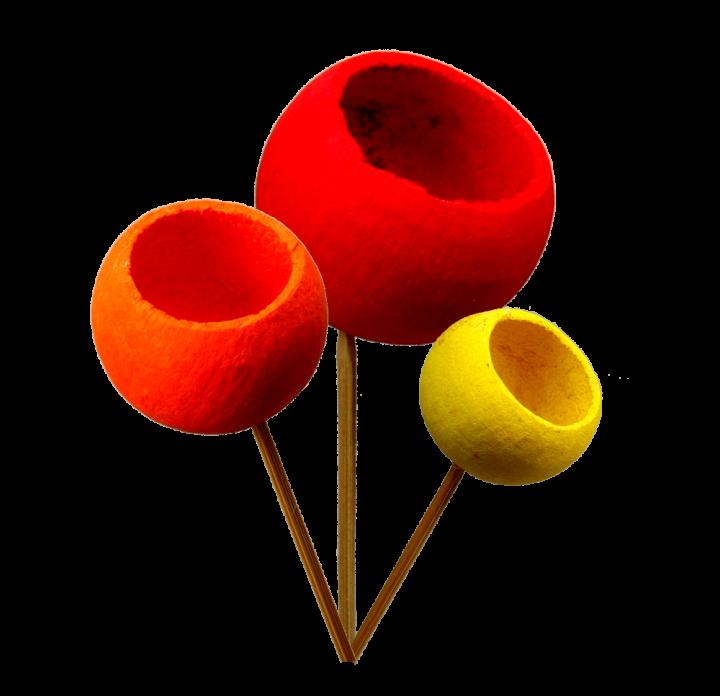 Bell Cup mini am Stiel im 3fach Farbmix    (500 Stück)