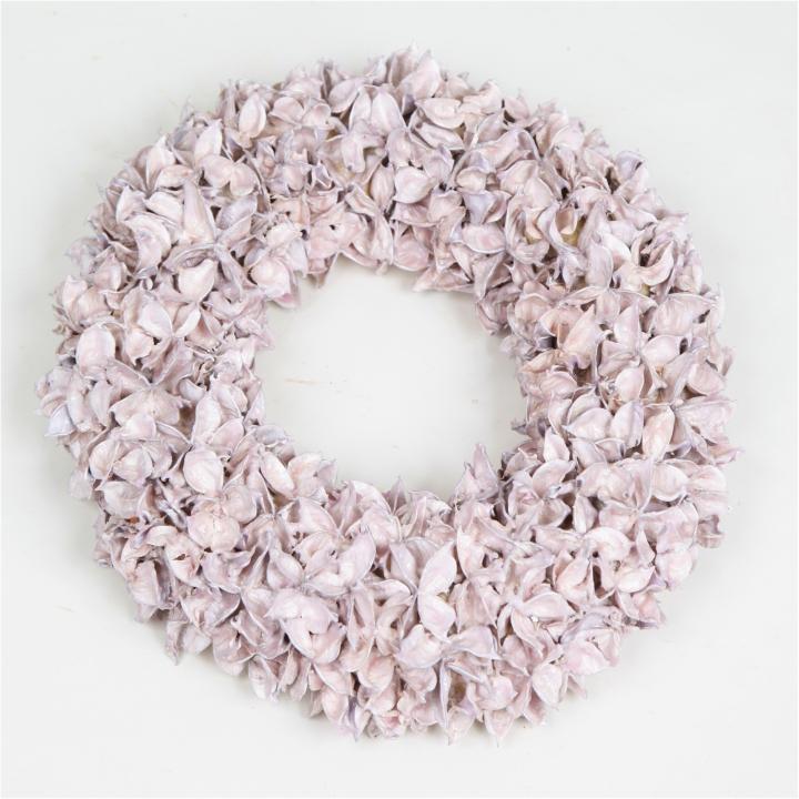 Baumwollfrucht Kranz gewachst in Viola Ice ( Ø 30cm )