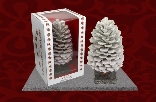 Oppacher Räucherzapfen / Räuchermännchen Creme Weiß mit Glitter ( Größe des Baumes ca. 22x11cm )