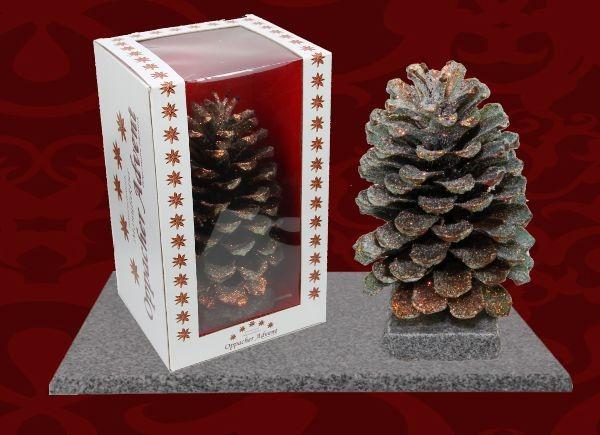 Oppacher Räucherzapfen / Räuchermännchen Natur gewachst mit Glitter ( Größe des Baumes ca. 22 x 11cm )