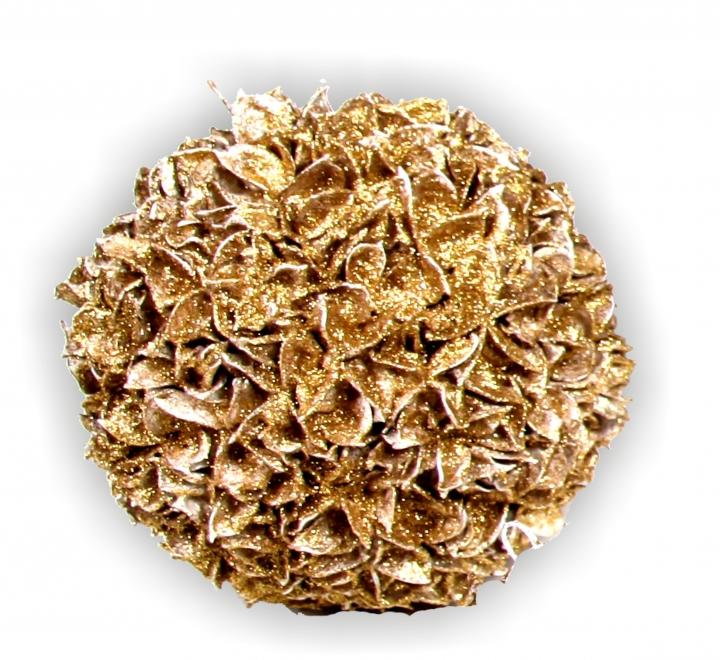 Baumwollfrucht Kugel gewachst in Gold Glitter ( Ø 18cm )