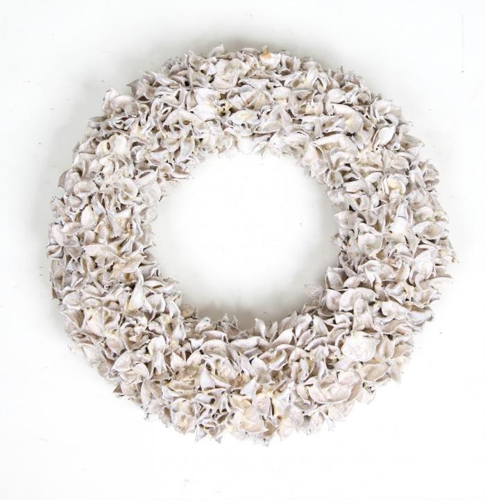 Baumwollfrucht Kranz gewachst in Weiß Glitter ( Ø 30cm ) (4 Stück)