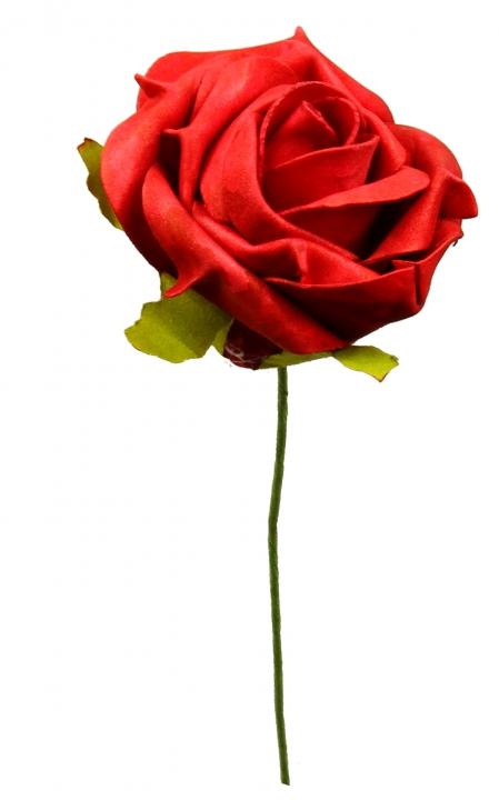 Schaumrose mit Stiel in Rot Kopfgröße 6cm (24 Stk./Pck.) (30 Stück)