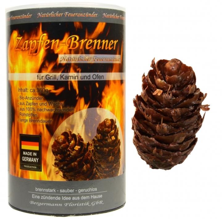Zapfen Brenner - ökologischer Grill- und Kaminanzünder, 360g=ca. 60 Zapfen je Dose, natürlicher Anzünder, Naturprodukt (28 Stück)
