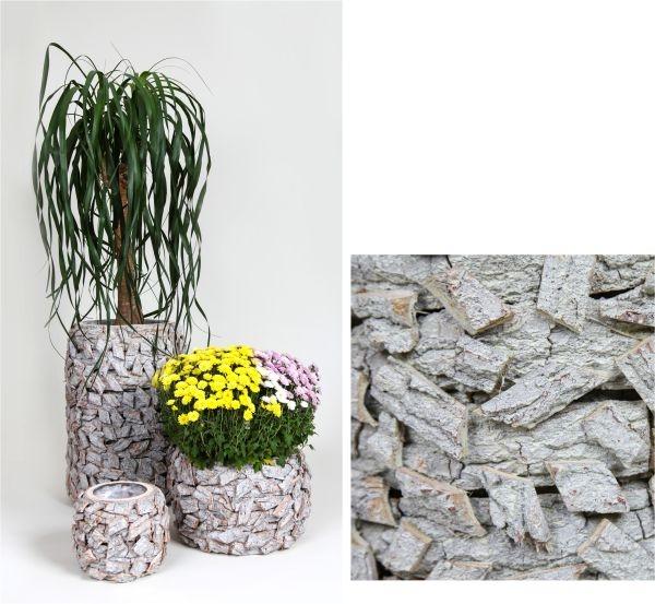 Rindenholz Pflanzgefäß 3er Set rund in Stonewashed Optik mit Pflanzfolie [Gesamt 6 Gefäße]