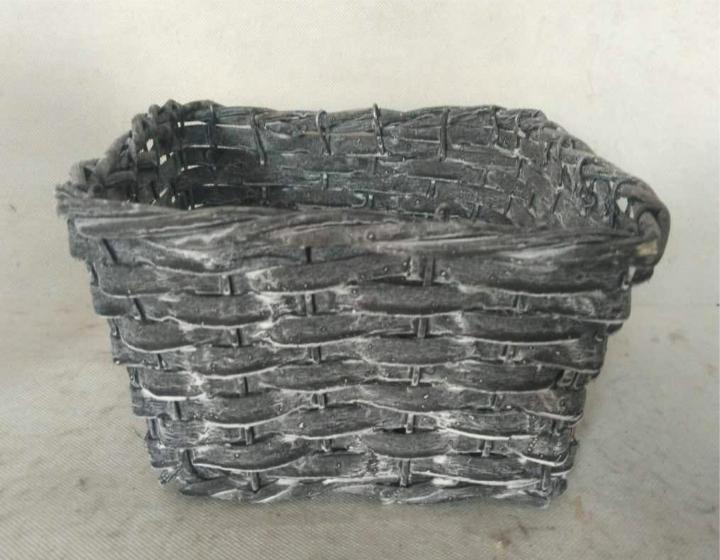 Weiden Pflanzkorb eckig in Blackwashed mit Pflanzfolie ( 24x24cm H16cm )