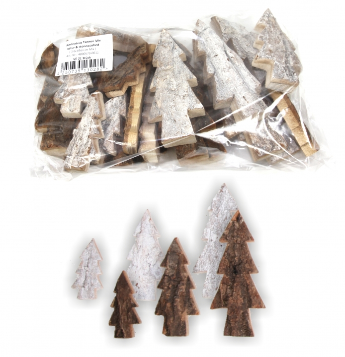 Sortiment Rindenholz Tannen in Stonewashed & Natur ( 21 tlg. )