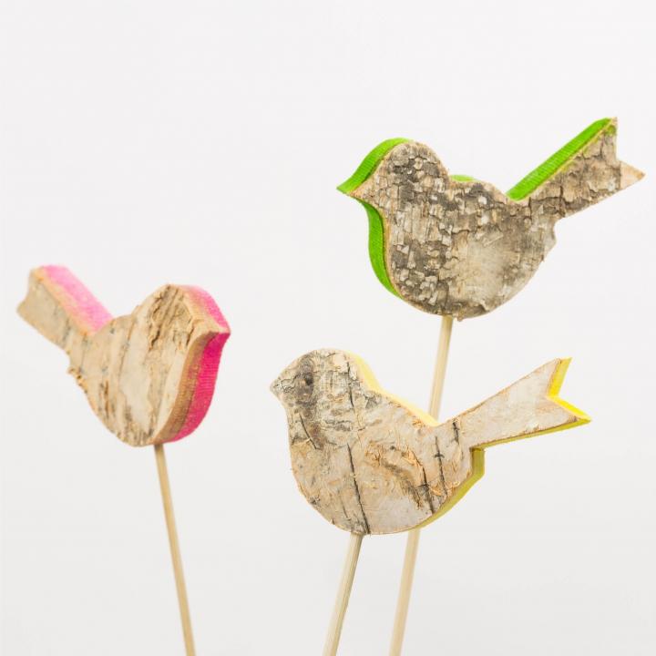 Rindenholz Deko Stecker Vogel mit farbiger Schnittkante ca. 5cm hoch und 8cm breit [Set mit 3 Stück]