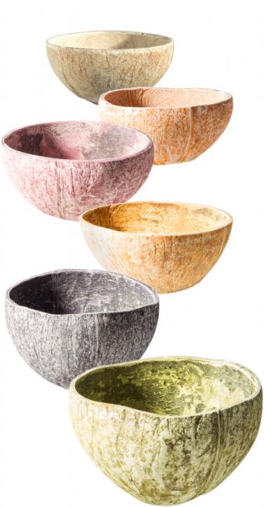 Kokosschale Becher Set in Spring 6 Farben je 2 Stück [ca. Ø 10-13cm]