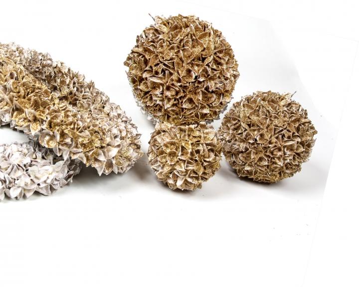 Baumwollfrucht Kugel gewachst in Gold Glitter ( Ø 14cm ) (6 Stück)