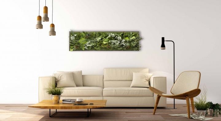 Moosbild ´Dschungel´ 140 x 40 cm auf Holzfaserplatte anthrazit