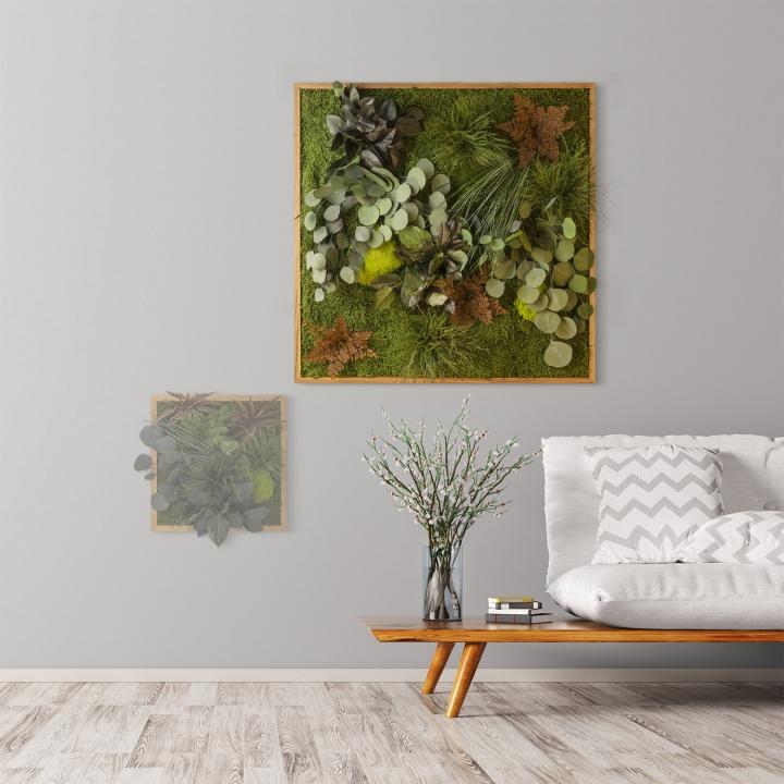 Moosbild ´Dschungel´ 80 x 80 cm mit Rahmen aus geölter Eiche