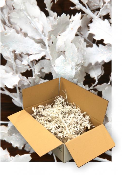Eichenlaub geglittert in Weiß Glitter ( je 1 Karton ca. 1kg )
