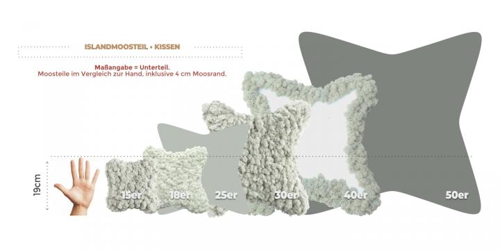 25`er Kissen Moosteil mit verottbarer Unterlage (18 Stück)