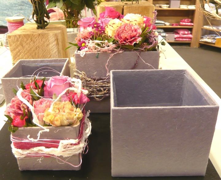 Blumen Boxx 2er Set in Schlamm mit Folie innen [10x10x12cm / 8x8x10cm]