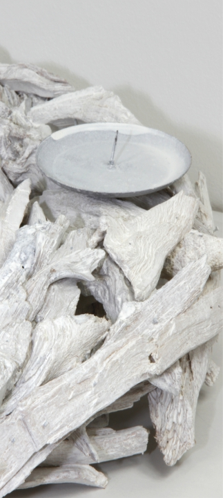 Adventskranz aus Pfirsichwurzel Stonewashed ( Ø 40cm )  (6 Stück)