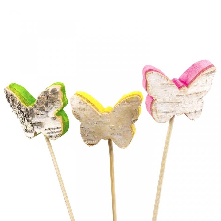 Rindenholz Deko Stecker Schmetterling mit farbiger Schnittkante ( ca. 5cm x 6,5cm - Set mit 3 Stück )