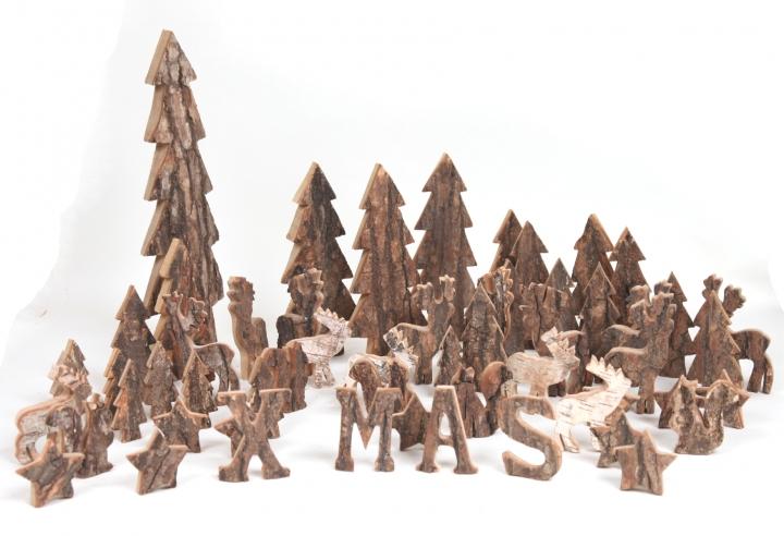 Rindenholz Hirsch in Stonewashed & Natur ( ca. 16cm hoch - 10 tlg. )