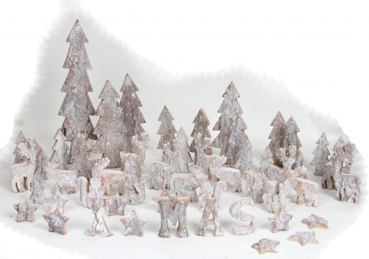 Rindenholz Hirsch klein in Stonewashed & Natur ( ca. 10cm hoch - 10 tlg. )