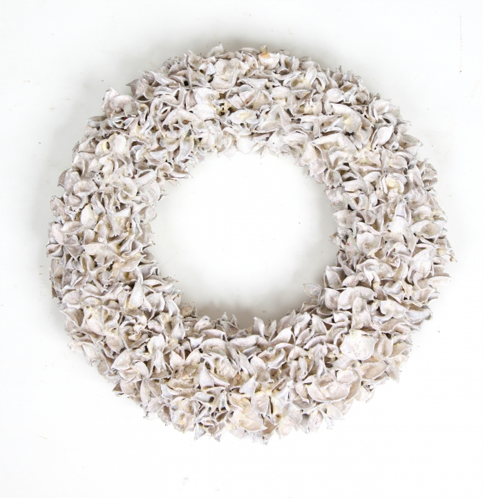 Baumwollfrucht Kranz gewachst in Weiß Glitter ( Ø 30cm )