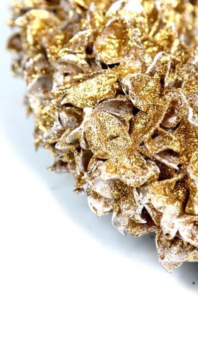 Baumwollfrucht Kugel gewachst in Gold Glitter ( Ø 14cm )