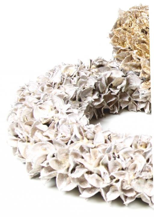 Baumwollfrucht Kugel gewachst in Weiß Glitter ( Ø 14cm )