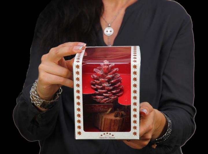 Oppacher Räucherbaum / Räuchermännchen Rot mit Glitter ( Größe des Baumes ca. 15x10cm )