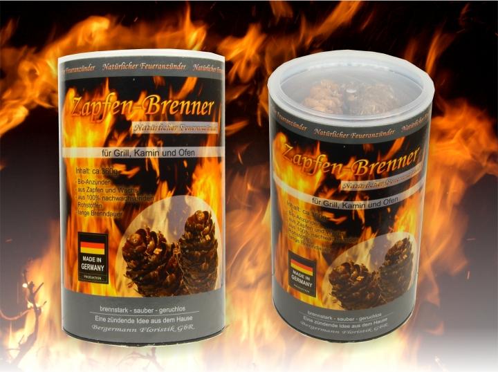 Zapfen Brenner - ökologischer Grill- und Kaminanzünder, 360g=ca. 60 Zapfen je Dose, natürlicher Anzünder, Naturprodukt