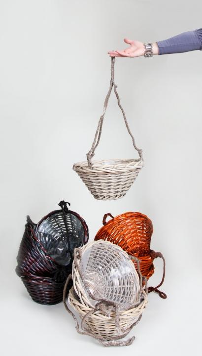 Hängekorb in Palisander mit Pfanzenfolie ( Ø 32cm H16cm )