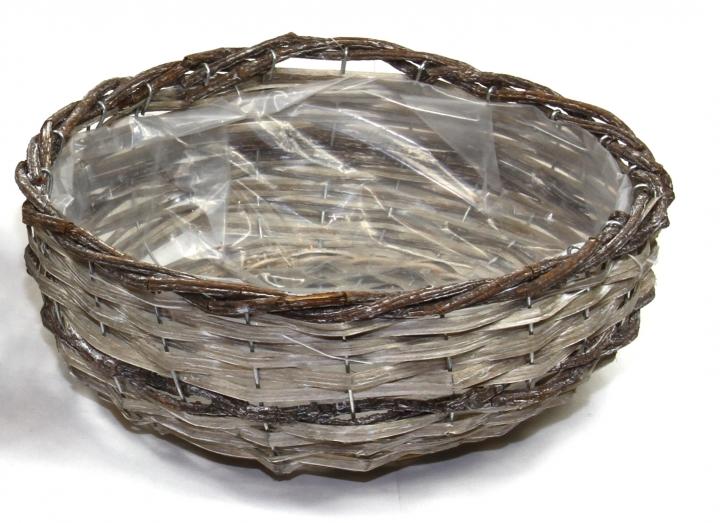 Weiden Pflanzkorb Rund in Stonewashed Bicolor mit Pflanzfolie ( Ø 33cm H13cm )