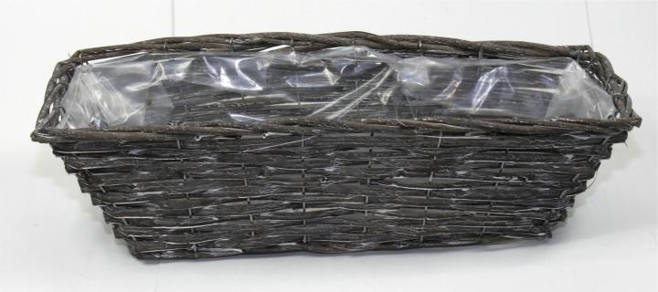 Weiden Pflanzkorb rechteckig [L45cm B18cm H14cm] in Blackwashed mit Pflanzfolie