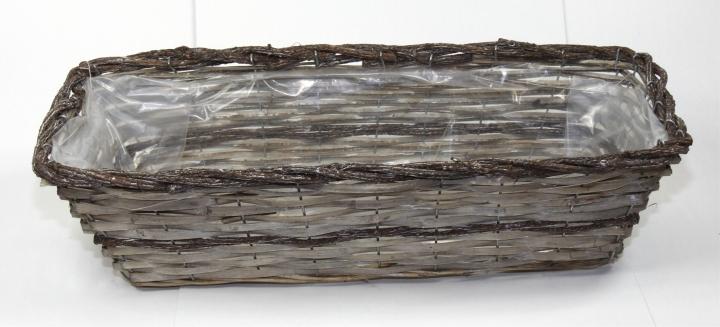 Weiden Pflanzkorb rechteckig [L52cm B20cm H14cm] in Stonewashed bicolor mit Pflanzfolie