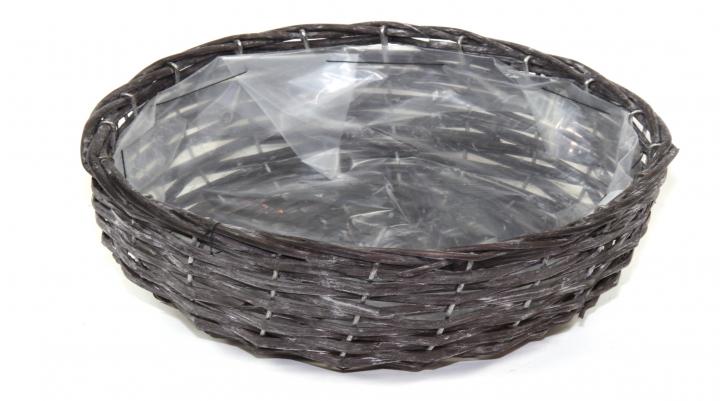 Weiden Pflanzkorb Oval in Blackwashed mit Pflanzfolie ( Ø 25cm H13cm )