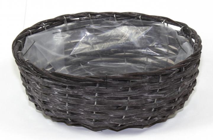Weiden Pflanzkorb oval [Ø 33cm H13cm] in Blackwashed mit Pflanzfolie