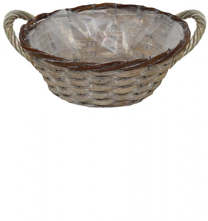 Weiden Pflanzkorb mit Henkel rund Ø25cm H 10cm in Stonewashed mit Pflanzfolie