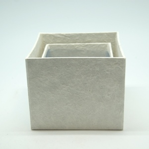 Blumen Boxx 2er Set in Weiß mit Folie innen ( 10x10x12cm + 8x8x10cm )