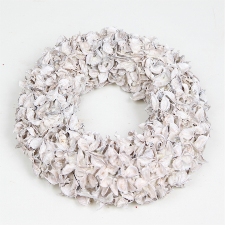 Baumwollfrucht Kranz gewachst in Creme Weiß ( Ø 30cm )