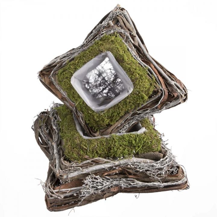 Pflanzgefäß Kissen aus Moos und Rebe  [20x20x8cm] mit Pflanzfolie