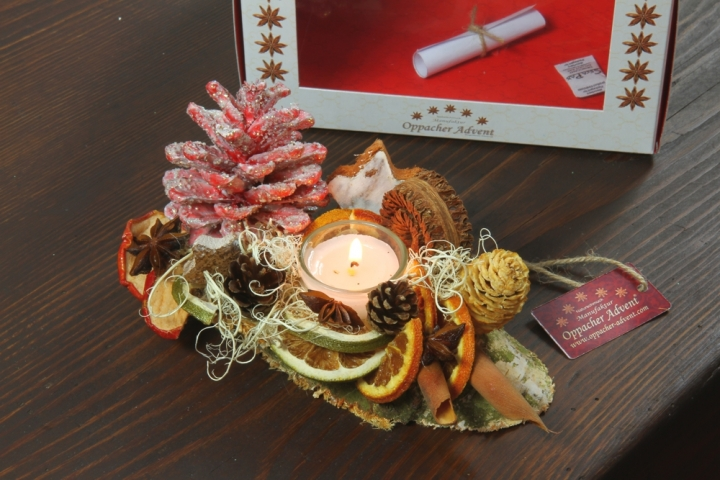 Oppacher Kerzen-Tischgesteck Classic in rot