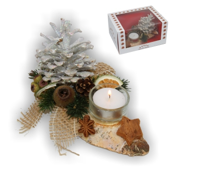 Oppacher Kerzen-Tischgesteck klein in creme weiß