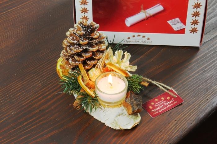 Oppacher Kerzen-Tischgesteck klein in natur
