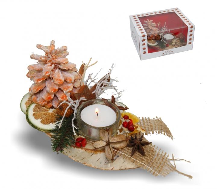 Oppacher Kerzen-Tischgesteck klein in orange