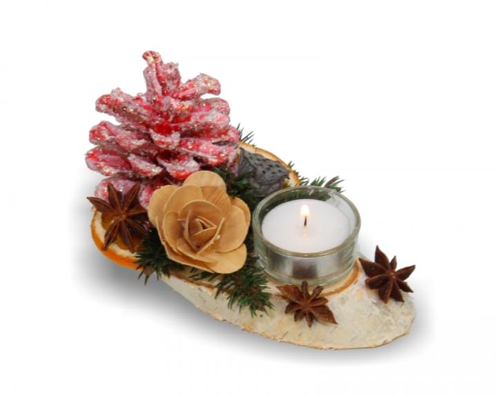 Oppacher Kerzen-Tischgesteck klein in Rot Light
