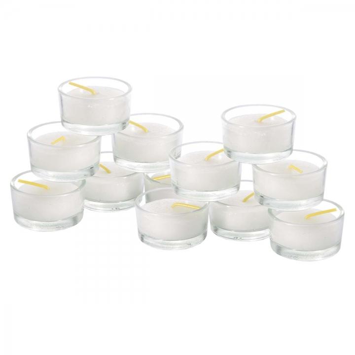 Teelichter im Glas ( 12 Stück - Ø Außen 45mm / H 26mm ) (12 Stück)
