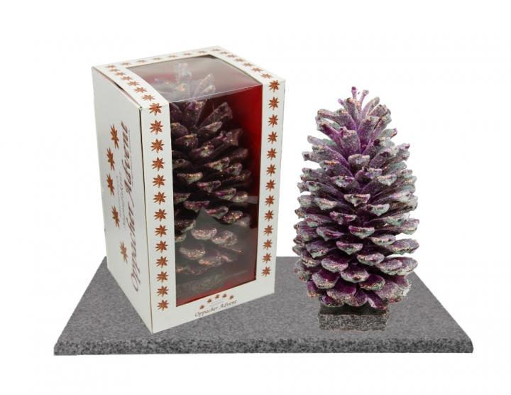 Oppacher Räucherzapfen / Räuchermännchen Brombeer mit Glitter ( Größe des Baumes ca. 22x11cm )