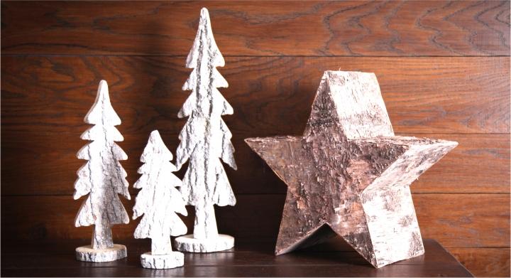 Rinden Weihnachtsstern natur im Set 2 Größen [2 tlg.]