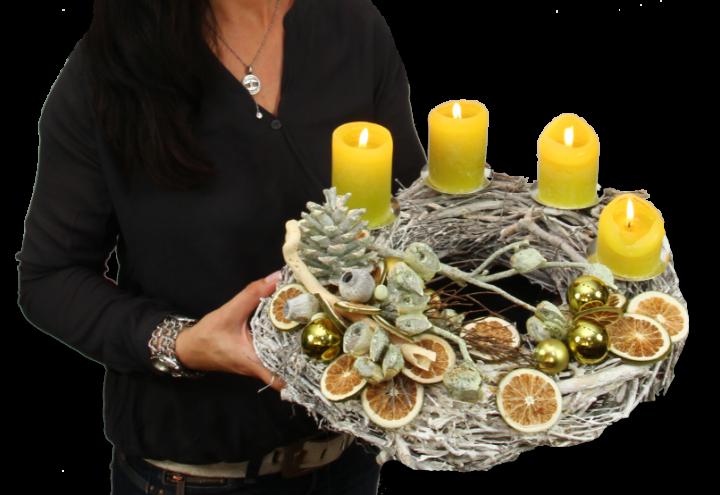 Premium Adventskranz Oppacher Lemon Natur Edel