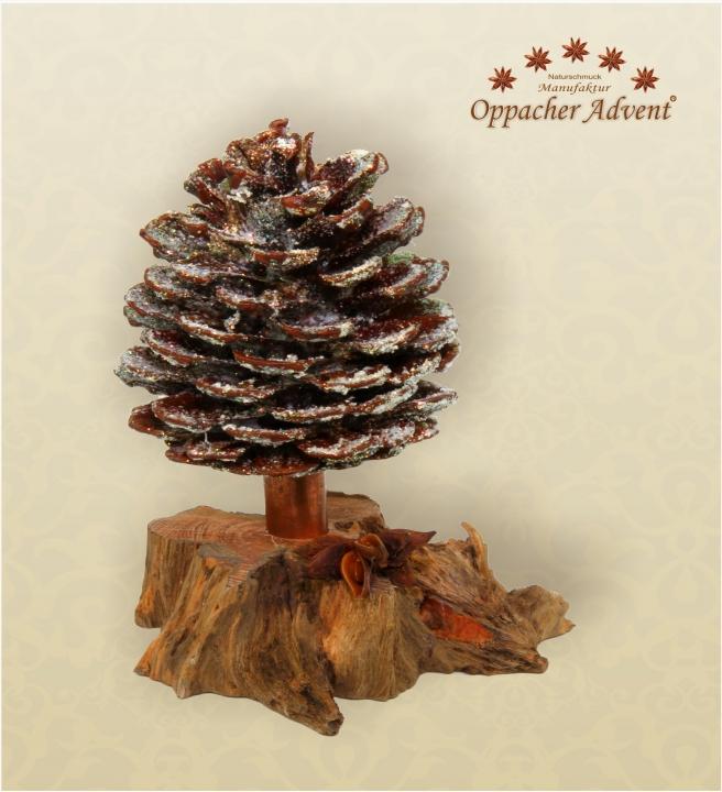 Oppacher Räucherbaum / Räuchermännchen natur mit Glitter   [Größe des Baumes ca. 15x10cm] (12 Stück)