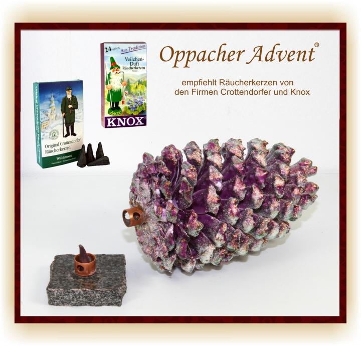 Oppacher Räucherzapfen / Räuchermännchen Viola Ice mit Glitter ( Größe des Baumes ca. 22 x 11cm )