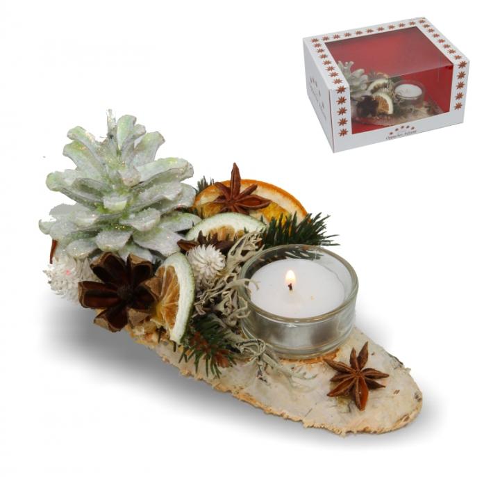 Oppacher Kerzen-Tischgesteck klein in grün light